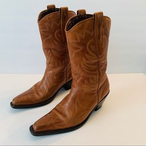 CATHY JEAN Brown Leather Cowboy Boots Size 6